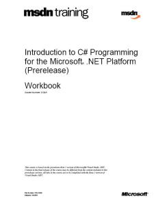 MSDN Training - Introduction to C# Programming for the Microsoft .NET Platform